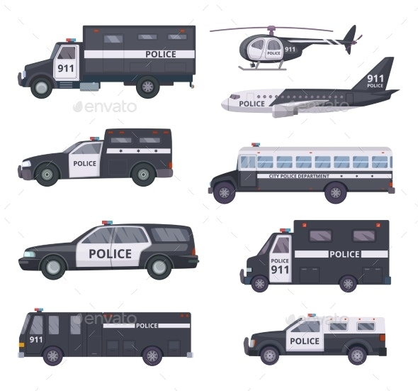 Police Cars. Vehicle Protection Services - Objects Vectors