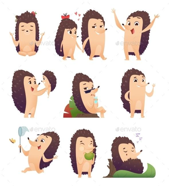 Cartoon Hedgehog. Wild Animal Character in Action - Animals Characters