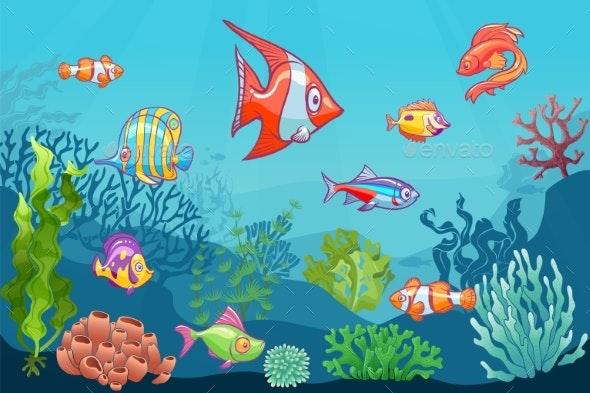 Underwater Seascape. Cartoon Aquatic Sea Wild Life - Animals Characters