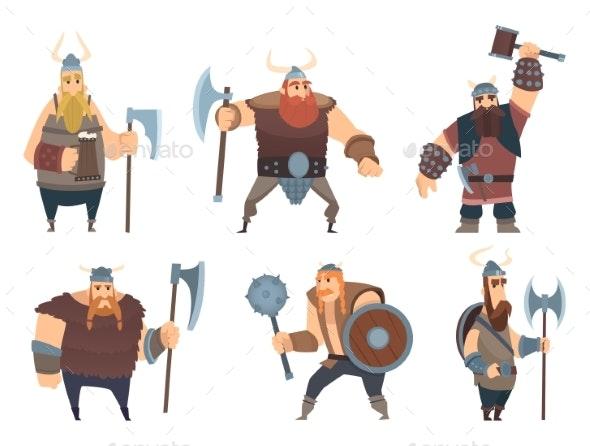 Viking Characters. Medieval Norwegian Warriors - People Characters