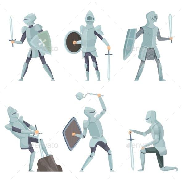 Cartoon Knights. Medieval Warrior