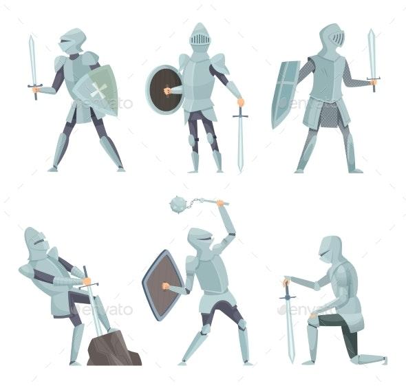 Cartoon Knights. Medieval Warrior - People Characters