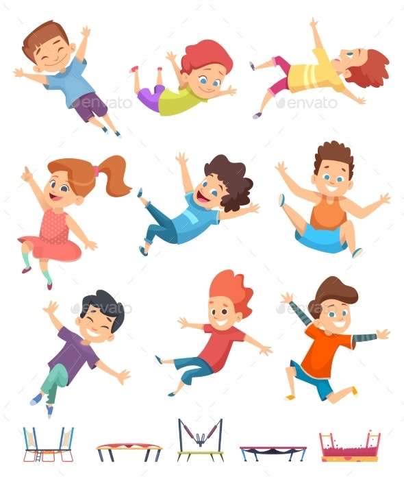 Kids Jumping. Trampoline Childrens Athletic - People Characters