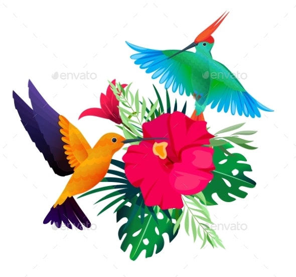 Tropical Birds Plants. Exotic Colored Background - Animals Characters
