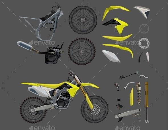 Motorcycle Parts Set Flat Full Garage Sale - Miscellaneous Vectors