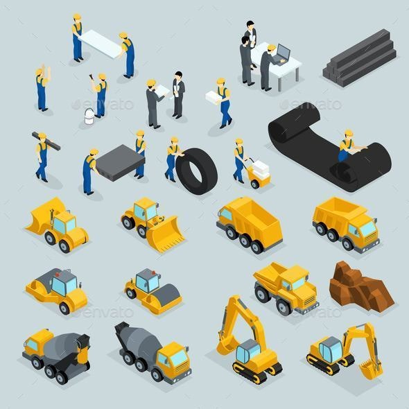 Isometric Icons for Construction Workers - Industries Business