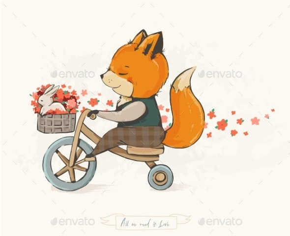 Fox on a Bicycle - Animals Characters