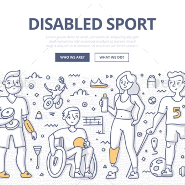Disabled Sport Doodle Concept