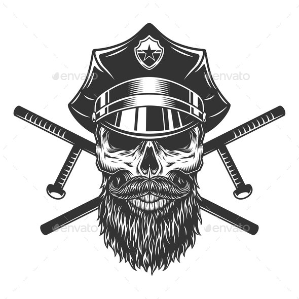 Bearded and Mustached Policeman Skull - Miscellaneous Vectors