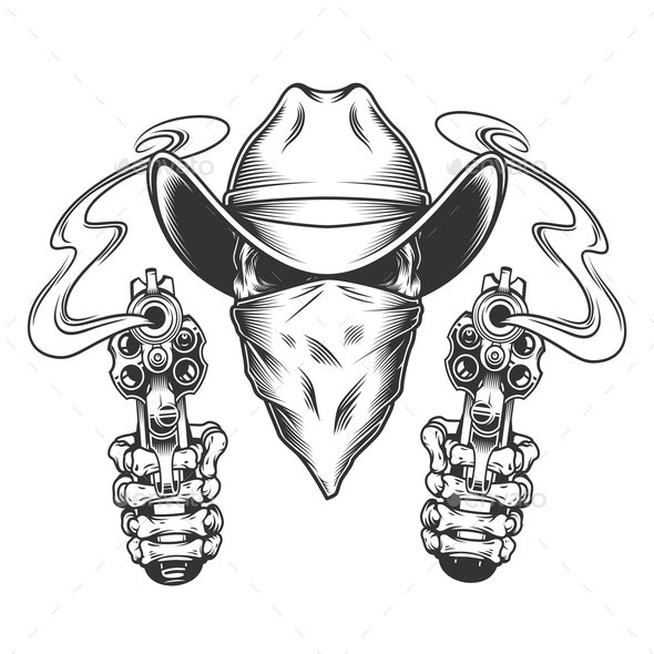 Skull in Cowboy Hat and Scarf - Miscellaneous Vectors