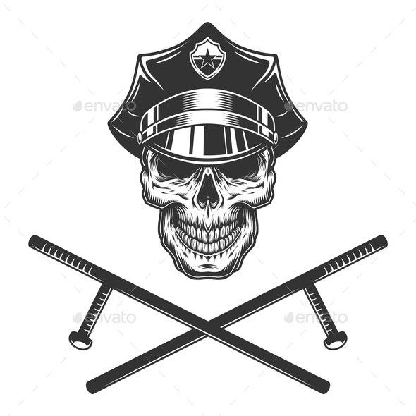 Policeman Skull - Miscellaneous Vectors