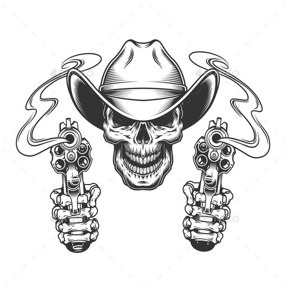 Vintage Skull in Cowboy Hat - Miscellaneous Vectors
