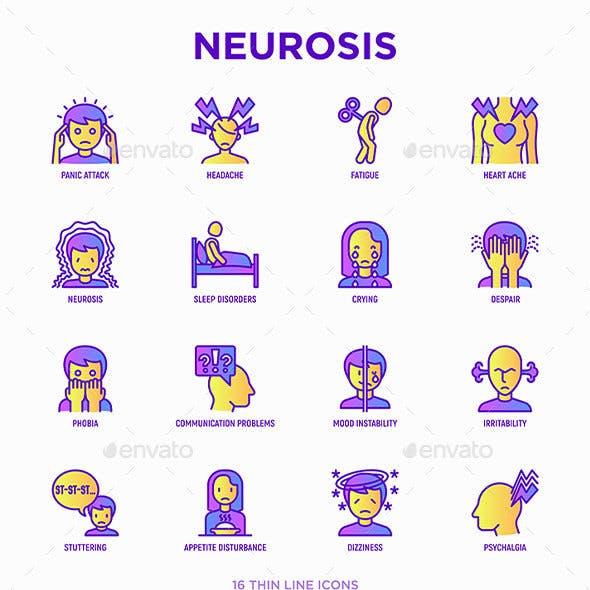 Neurosis | 16 Thin Line Icons Set