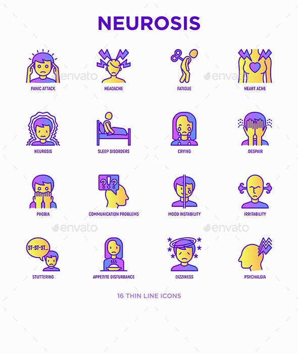 Neurosis | 16 Thin Line Icons Set - People Characters