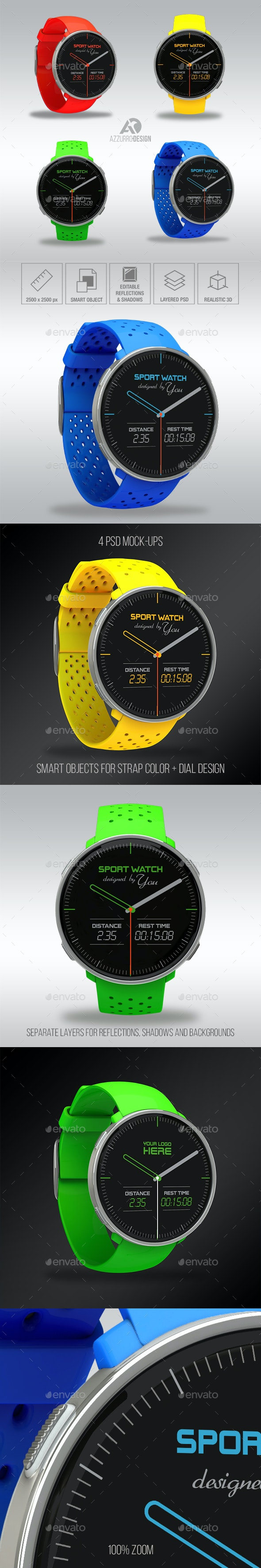 Sport Watch Mockup - Mobile Displays