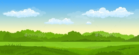 Summer Landscape with Fields and Green Hills - Landscapes Nature