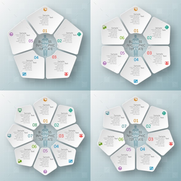 Set of circular infographic design elements.Vector - Infographics