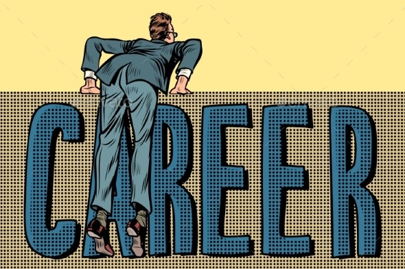 Man Makes a Career Barrier - Concepts Business