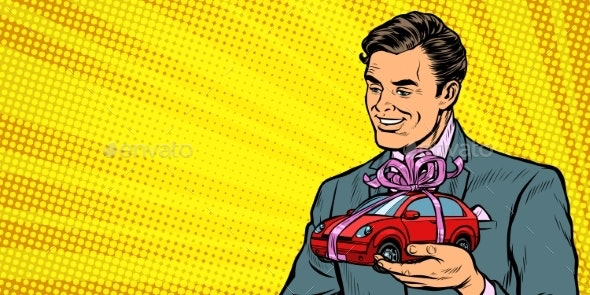 Businessman Gives a Gift, Selling Cars - Man-made Objects Objects