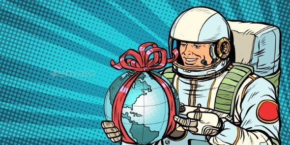 Astronaut Gives the Planet Earth - Technology Conceptual