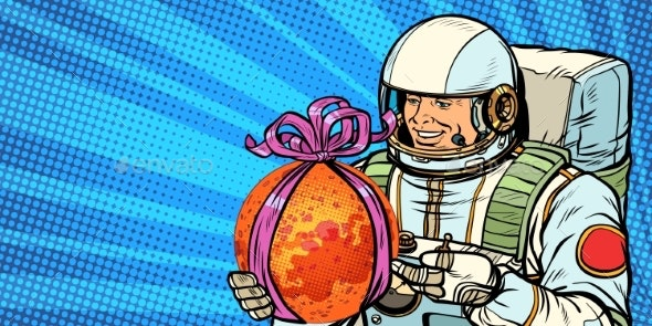Astronaut Gives the Planet Mars - Technology Conceptual