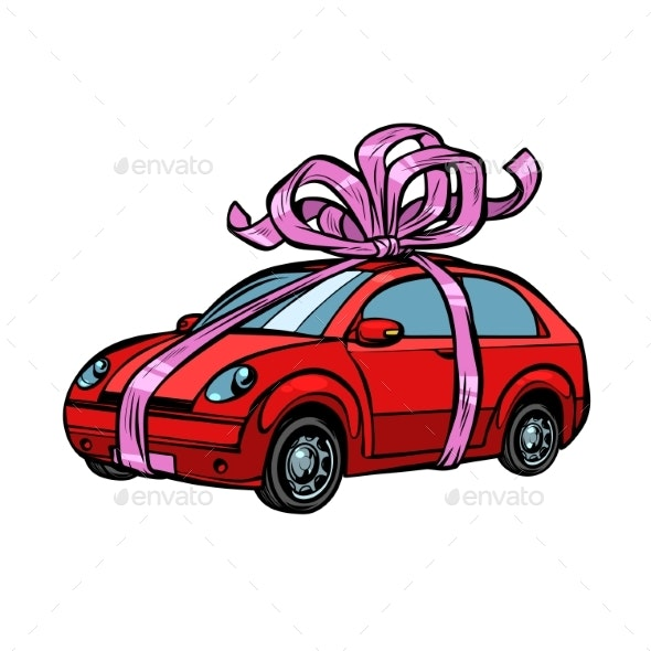 Car Gift, Transport Tied with Festive Ribbons - Man-made Objects Objects