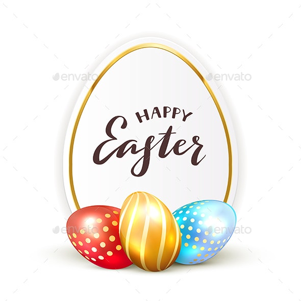 Card and Painted Easter Eggs - Miscellaneous Seasons/Holidays