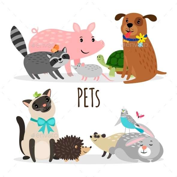 Cartoon Character Groups of Vector Pets Isolated - Animals Characters