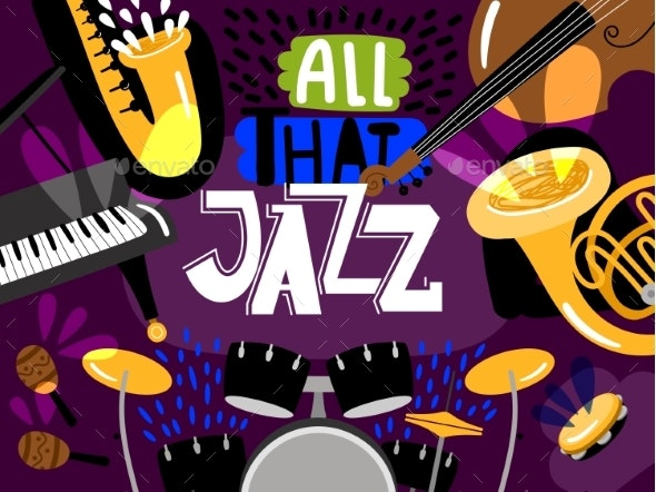 Musical Live Jazz Band, Concert of Banner - Backgrounds Decorative