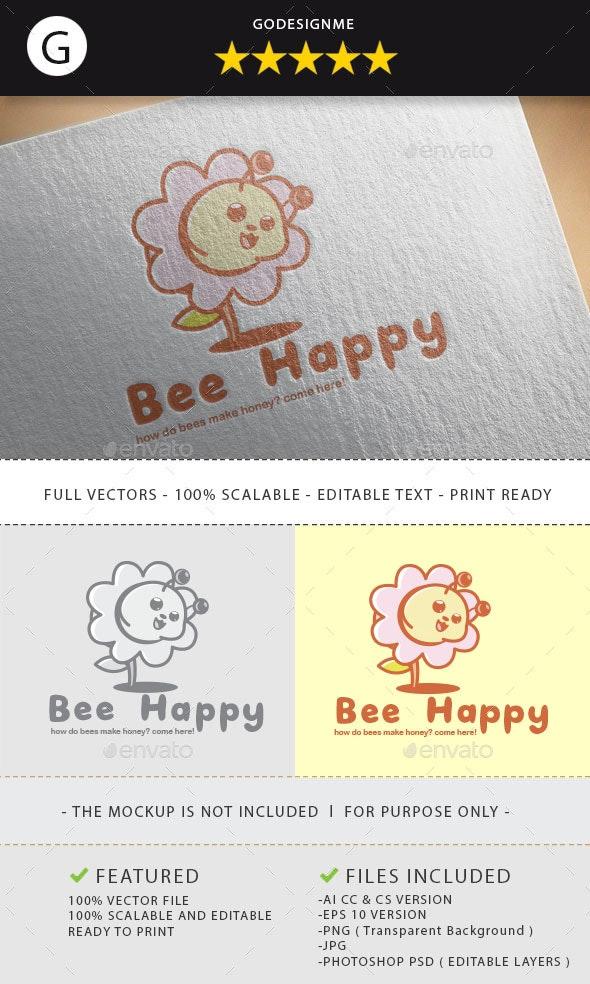 Bee Happy Logo Design - Vector Abstract