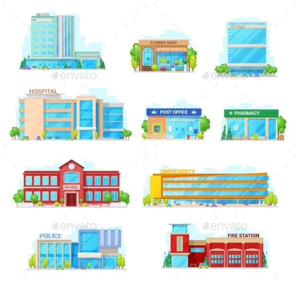 Commercial and Municipal City Buildings Icons - Buildings Objects