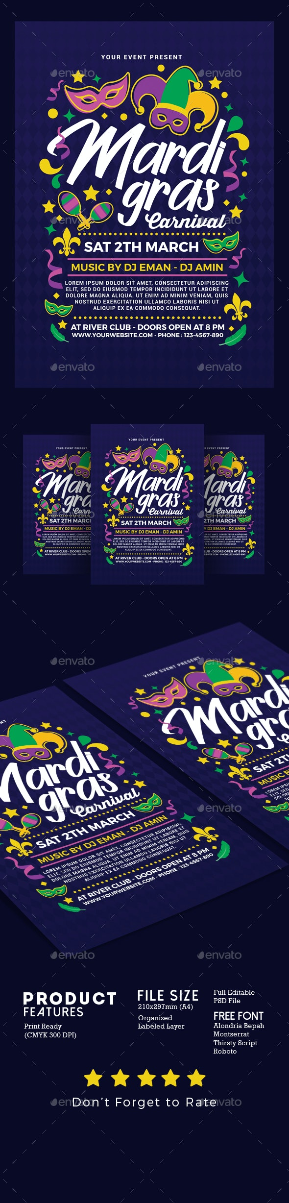 Mardi Gras Carnival - Events Flyers