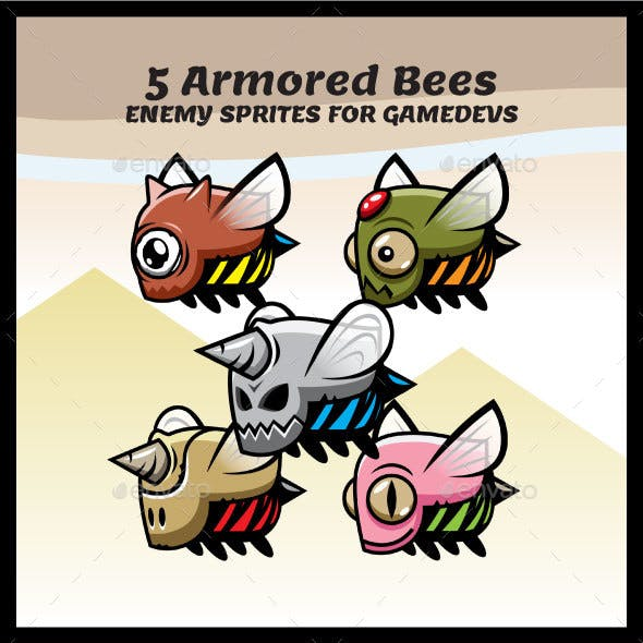 5 Armored Bees Sprites | Enemy Game Characters
