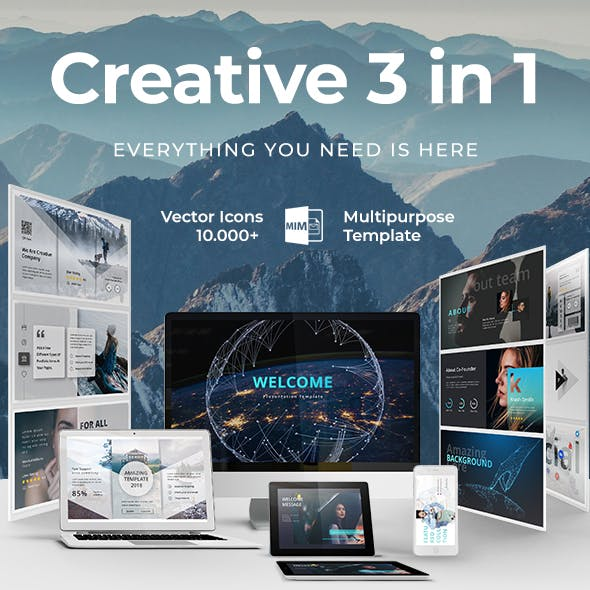 Creative 3 in 1 Bundle Powerpoint Template