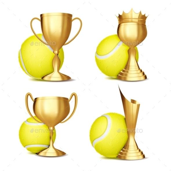 Tennis Game Award Set Vector - Sports/Activity Conceptual
