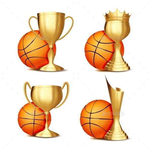 Basketball Game Award Set Vector - Sports/Activity Conceptual