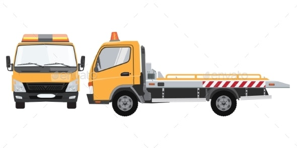 Yellow Tow Truck with Front and Side View - Man-made Objects Objects
