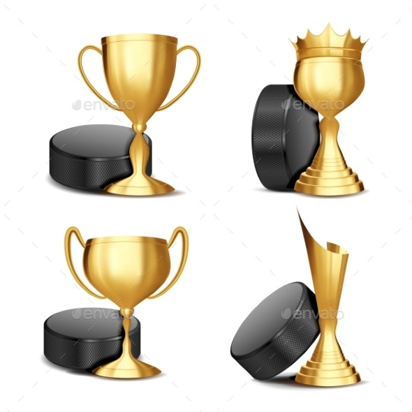 Ice Hockey Game Award Set Vector - Sports/Activity Conceptual