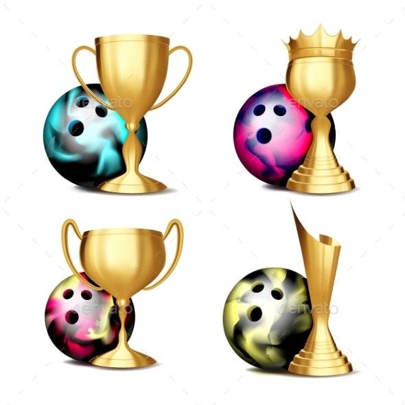 Bowling Game Award Set Vector - Sports/Activity Conceptual
