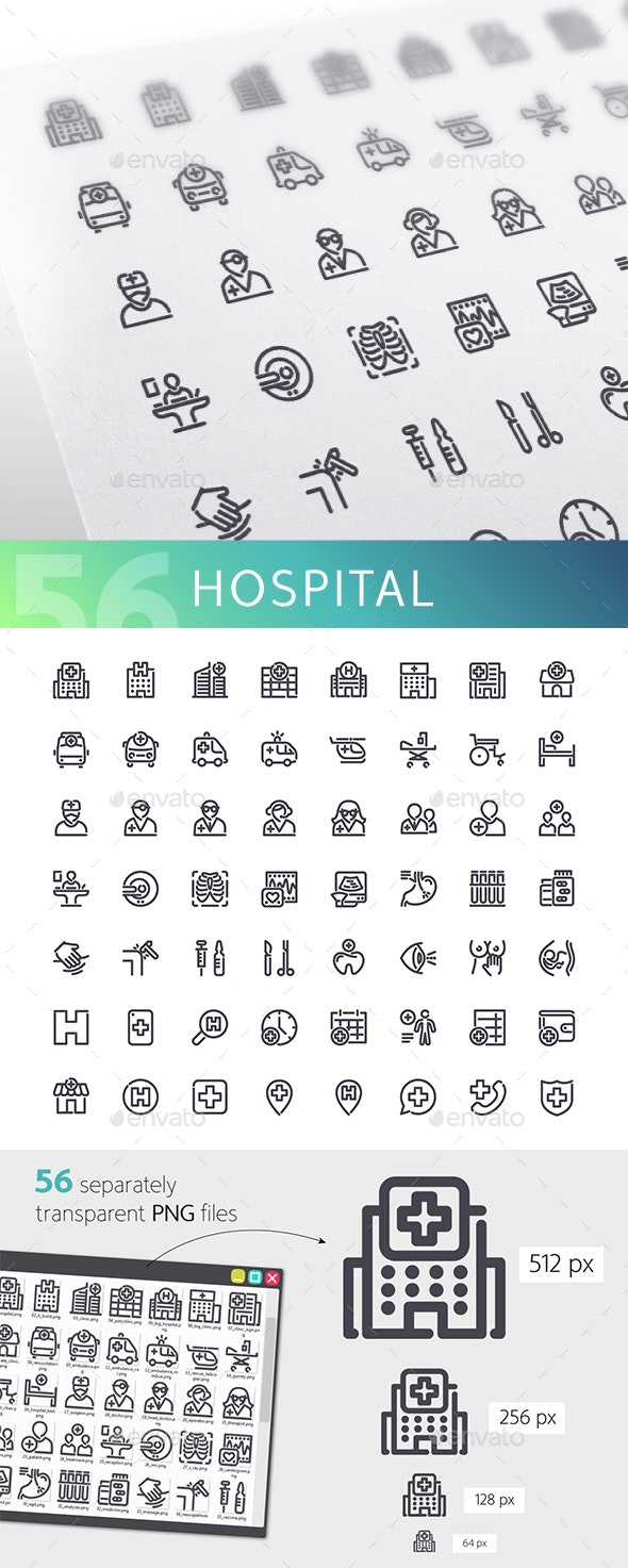 Hospital Line Icons Set - Buildings Objects