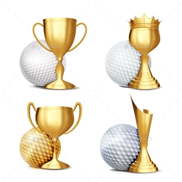 Golf Game Award Set Vector - Sports/Activity Conceptual