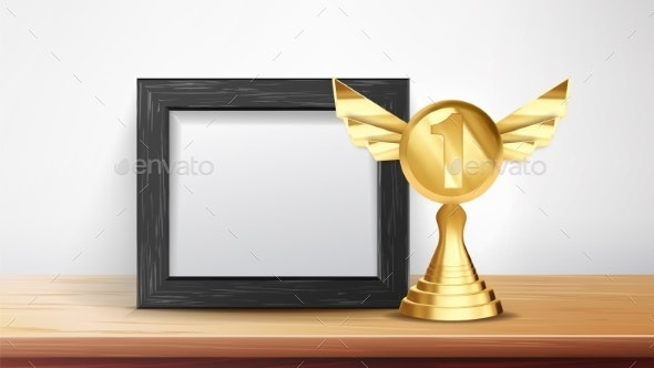 Certificate Diploma With Golden Cup Vector - Backgrounds Business