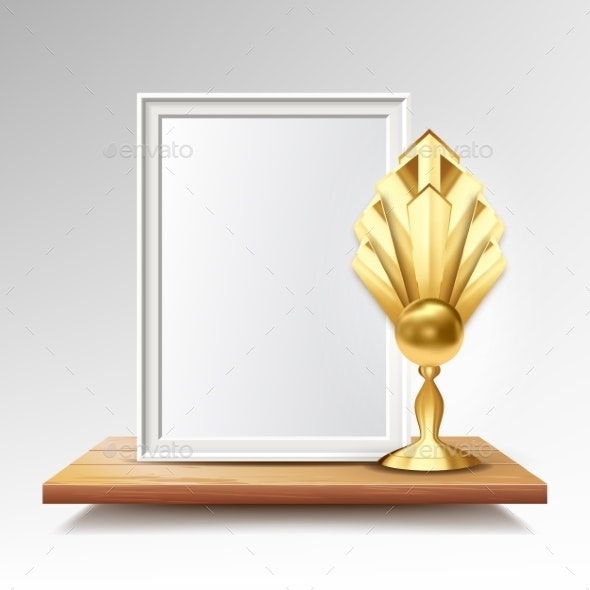 Certificate Diploma With Golden Cup Vector - Backgrounds Decorative