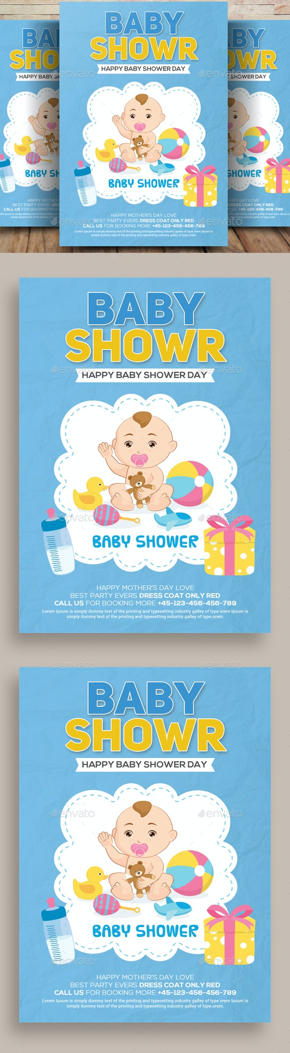 Baby Shower Card - Cards & Invites Print Templates