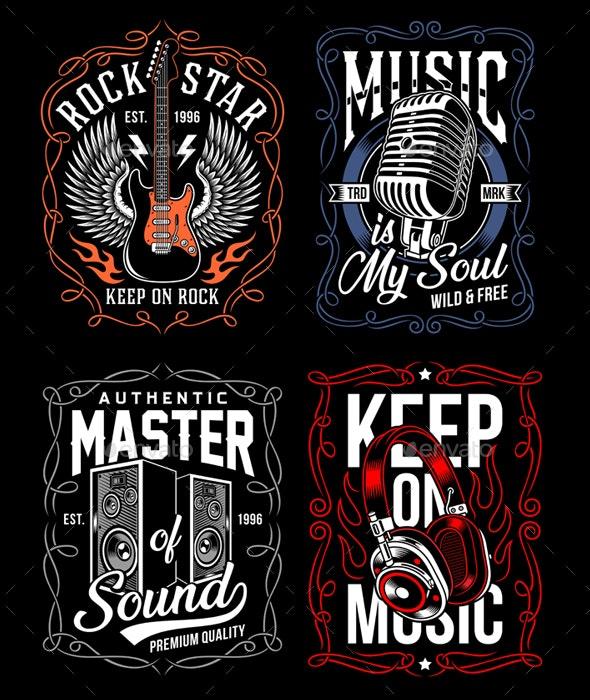 Music T-Shirt Design Set - Decorative Symbols Decorative