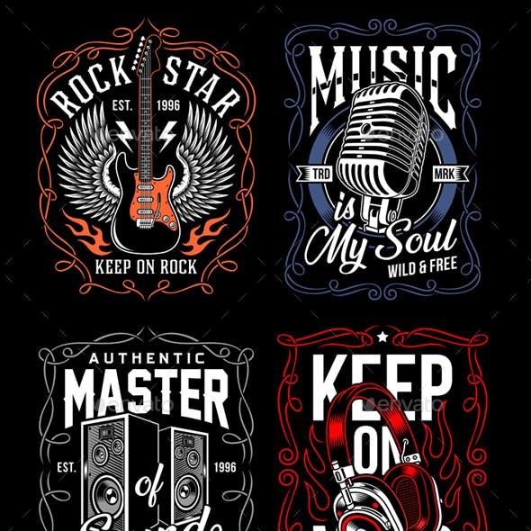 Music T-Shirt Design Set