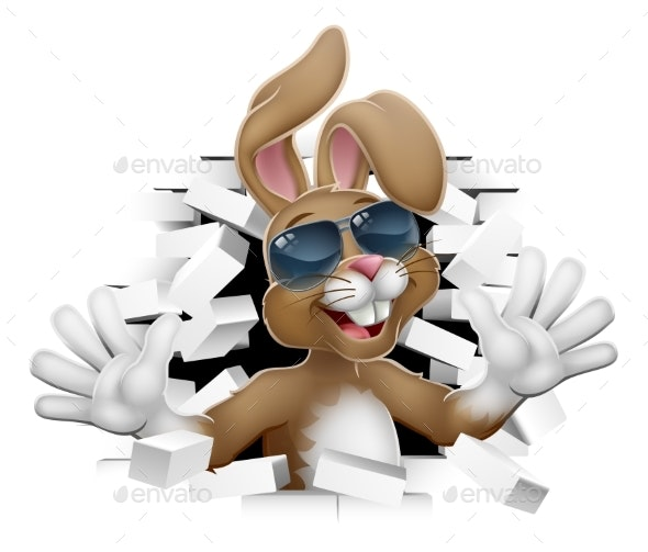 Cool Easter Bunny Rabbit in Shades Breaking Wall - Seasons/Holidays Conceptual
