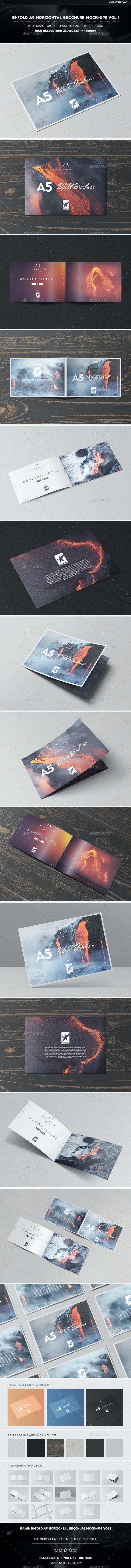 Bi-Fold A5 Horizontal Brochure Mock-Ups Vol.1 - Brochures Print