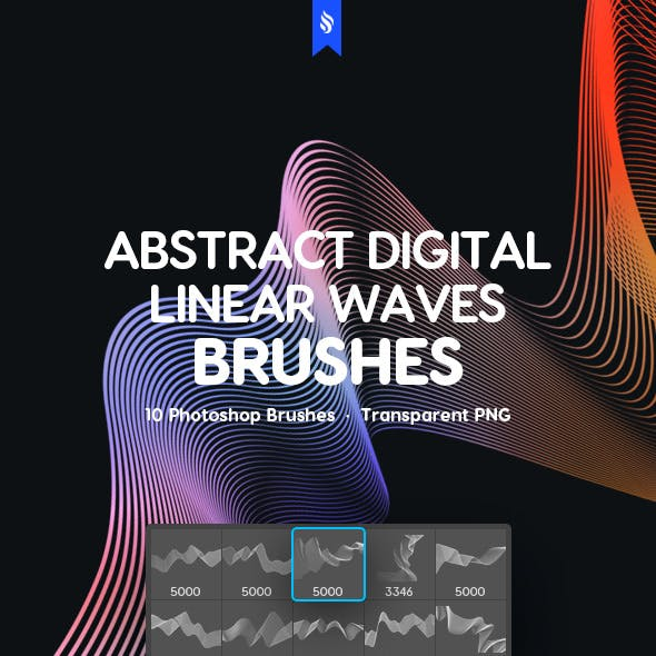 Futuristic Linear Waves Photoshop Brushes