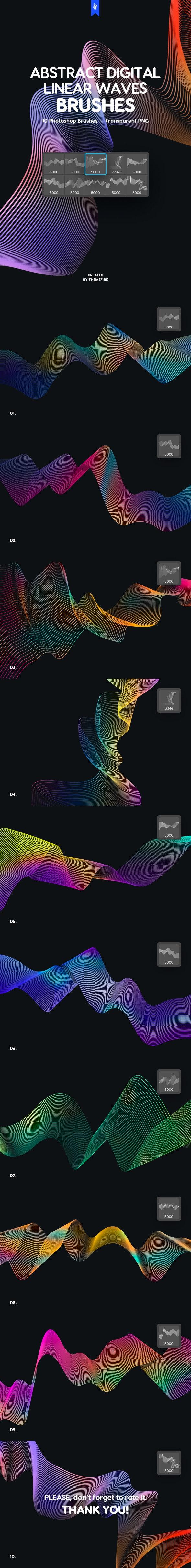 Futuristic Linear Waves Photoshop Brushes - Techno / Futuristic Brushes